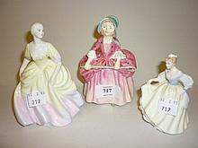 Royal Doulton figure ' Bo Peep ' HN 1811, another ' Fair Lady ' HN3216 and a small Coalport figure ' Annette '