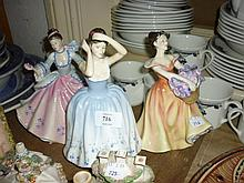 Royal Doulton figure ' Rebecca ' HN2805, another ' Sheila ' HN2472, and another ' Lesley ' HN2410