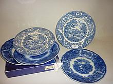 Royal Bonn Delft pattern blue and white vase, two pairs of blue and white plates, together with a Coalport floral decorated jug and a boxed Spode plate