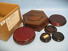 Box containing a quantity of various hardwood stands