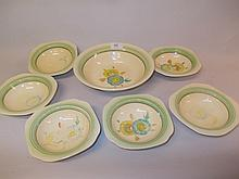 Clarice Cliff Newport pottery floral decorated fruit set