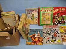Box containing a quantity of various childrens books including Rupert etc