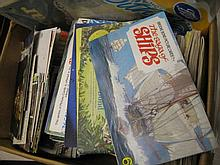 Box containing a quantity of various albums of tea cards, quantity of loose postcards and a small quantity of Auto Car magazine from the '40's