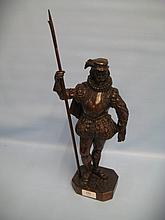 20th Century carved wooden figure of a 16th Century guard with pike
