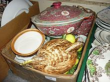 20th Century pot and cover in the form of a hen together with a quantity of various other decorative porcelain