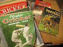 Two boxes containing a large quantity of various 20th Century cricket related books