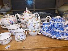Copeland blue and white transfer printed Willow pattern breakfast set, similar floral decorated Coalport set and a similar Royal Doulton set