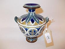 Doulton Lambeth two handled baluster form vase with stylised decoration