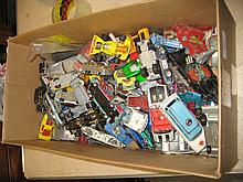 Box containing a quantity of various diecast playworn model vehicles