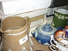 Doulton stoneware jug, four items of Jasperware and a quantity of collectors plates in original boxes
