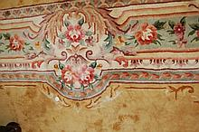 Large Chinese rug on a mustard ground with multiple floral borders (a/f, corner cut out - piece included)