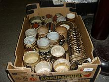 Box containing a quantity of various studio pottery including coffee set