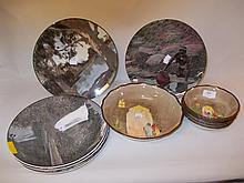 Royal Doulton Seriesware fruit set and five Seriesware plates decorated with photographic scenes