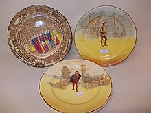 Royal Doulton Seriesware plate ' Orlando ', another ' Romeo ', another ' Queen Elizabeth at Old Moreton ' and two others depicting Knights on horseback