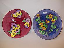 Royal Doulton Nasturtium pattern charger D6325 and another similar in Pansy pattern