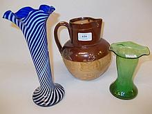 Royal Doulton harvest ware jug together with two glass vases