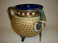 Large Royal Doulton stoneware three handled cauldron with relief moulded and incised decoration