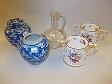 Pair of Hammersley floral decorated two handled loving cups, a pair of blue and white ginger jars and a Mary Gregory glass jug