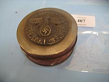 Circular cylindrical burr wood and silver plate mounted snuff box, the lid decorated in relief with Third Reich insignia