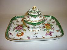 19th or early 20th Century Dresden floral decorated inkstand with well and cover (a/f)