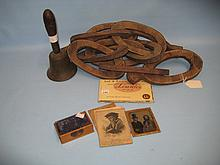 Bronze handbell, Mauchline ware pin cushion, Ambrotype, small quantity of ephemera and a native carving