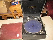 Columbia table model wind-up gramophone together with a small quantity of 78 speed records