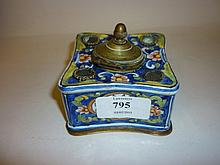 19th Century continental pottery inkstand
