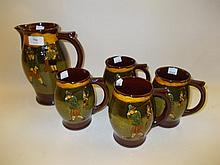 Royal Doulton Kingsware jug decorated in relief with golfing scenes after Crombie, together with a set of four matching mugs