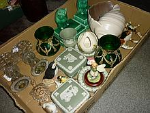 Box containing a quantity of miscellaneous ceramics including Poole Pottery shell form vase and pair of Sylvac style bookends in the form of owls
