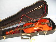 Violin and bow in a fitted case