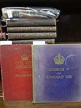 19th Century part leather bound volume, ' Leisure Hour ', dated 1871, four volumes of ' Cassell's History of England ', canvas bound and two Coronation volumes