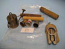 Sewing tape / pin cushion in the form of a watering can, two advertising thimbles, three wooden pin cases and a pair of folding scissors in case