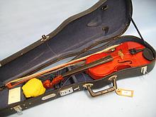 Chinese student violin with bow in fitted case