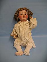 Porcellanfabrik Burgrubb, German bisque headed doll with jointed body, the head with sleeping eyes marked 1696 1/2 (head restored)