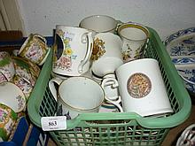 Quantity of Royal Commemorative cups and mugs, salt glazed stoneware jug, pottery chintz decorated jardiniere and a blue and white transfer printed meat dish