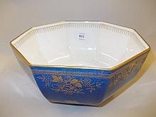 Wedgwood lustre octagonal bowl decorated with flowers and insects on a mottled blue ground, pattern No. 2493 to base, 7.75ins diameter