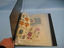 Folio containing a collection of various silk cards of flags, Admiral Beatty, Field Marshall Sir Douglas Haig and others