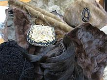 Quantity of various fur hats, stoles and collars together with two ladies evening bags