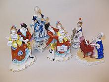 Pair of Continental porcelain groups of dancing couples and various similar figures and groups