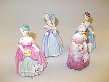 Royal Doulton figure ' Dainty May ' M73, another ' June ' M71, another ' Dainty May ' M67 and another ' Bridesmaid ' M30