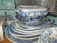 Quantity of various blue and white oval meat plates together with a pottery tureen with stand