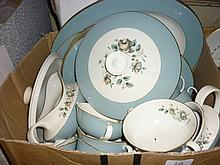 Royal Doulton Rose Elegans nine place setting dinner service including three sizes of plate, tureens, meat dishes, soup bowls with stands, two cups and saucers, sauce boat and stand