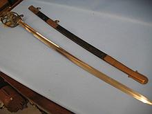 Victorian 1844 pattern Warrant Officer's Infantry sword in a brass and leather scabbard