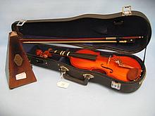 Mahogany cased French metronome (a/f) and a Stentor violin with bow in fitted case