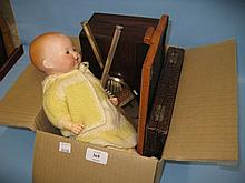 Armand Marseille bisque headed baby doll, rosewood work box and a quantity of miscellaneous items