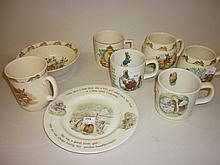 Small collection of Doulton Bunnykins pottery, Queen Elizabeth II Coronation mug etc.