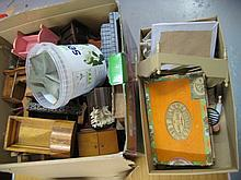 Two boxes containing a quantity of various dolls house furniture and accessories