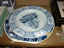 18th Century Delft plate decorated with tree of life design (chip to rim) together with a Dutch Delft plate (with chips and losses)