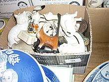 Box containing a similar quantity of miscellaneous porcelain and pottery figures of cats