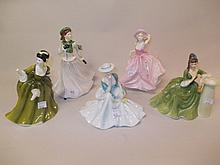 Three various Coalport figures and two Doulton figures (a/f)